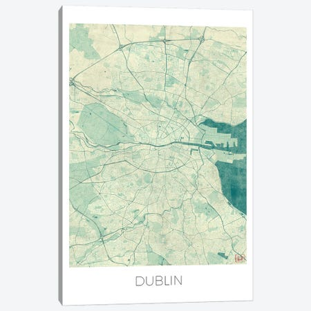 Dublin Vintage Blue Watercolor Urban Blueprint Map Canvas Print #HUR125} by Hubert Roguski Canvas Art
