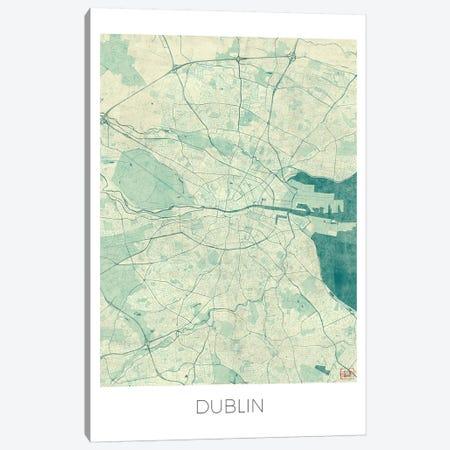 Dublin Vintage Blue Watercolor Urban Blueprint Map Canvas Print #HUR125} by Hubert Roguski Canvas Art