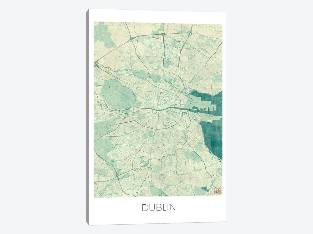 Dublin Vintage Blue Watercolor Urban Blueprint Map by Hubert Roguski 1-piece Canvas Artwork