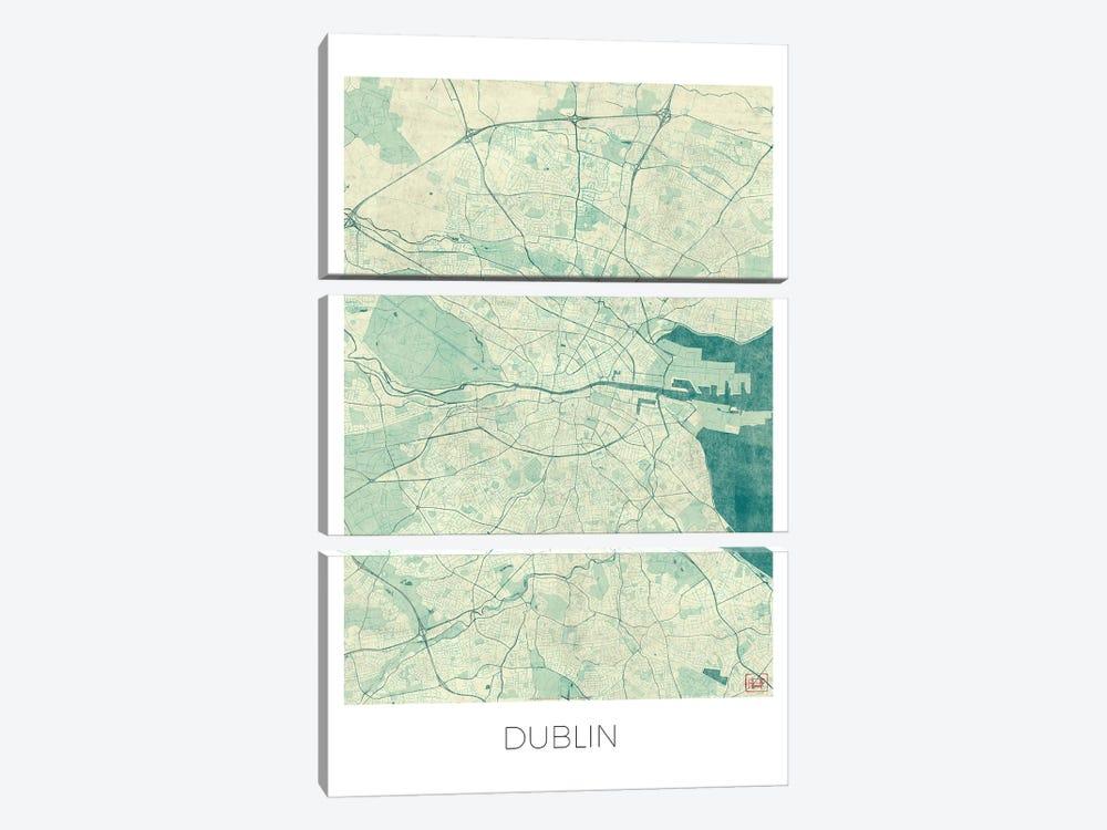 Dublin Vintage Blue Watercolor Urban Blueprint Map by Hubert Roguski 3-piece Canvas Artwork