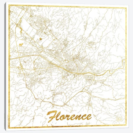 Florence Gold Leaf Urban Blueprint Map Canvas Print #HUR126} by Hubert Roguski Canvas Artwork