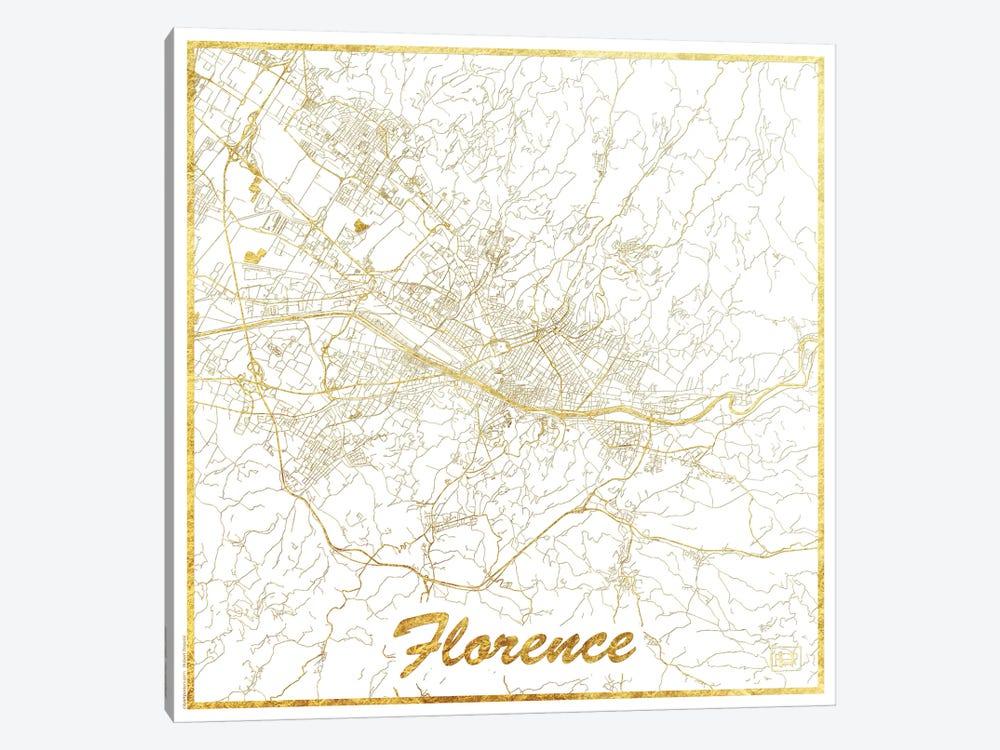 Florence Gold Leaf Urban Blueprint Map by Hubert Roguski 1-piece Canvas Art Print