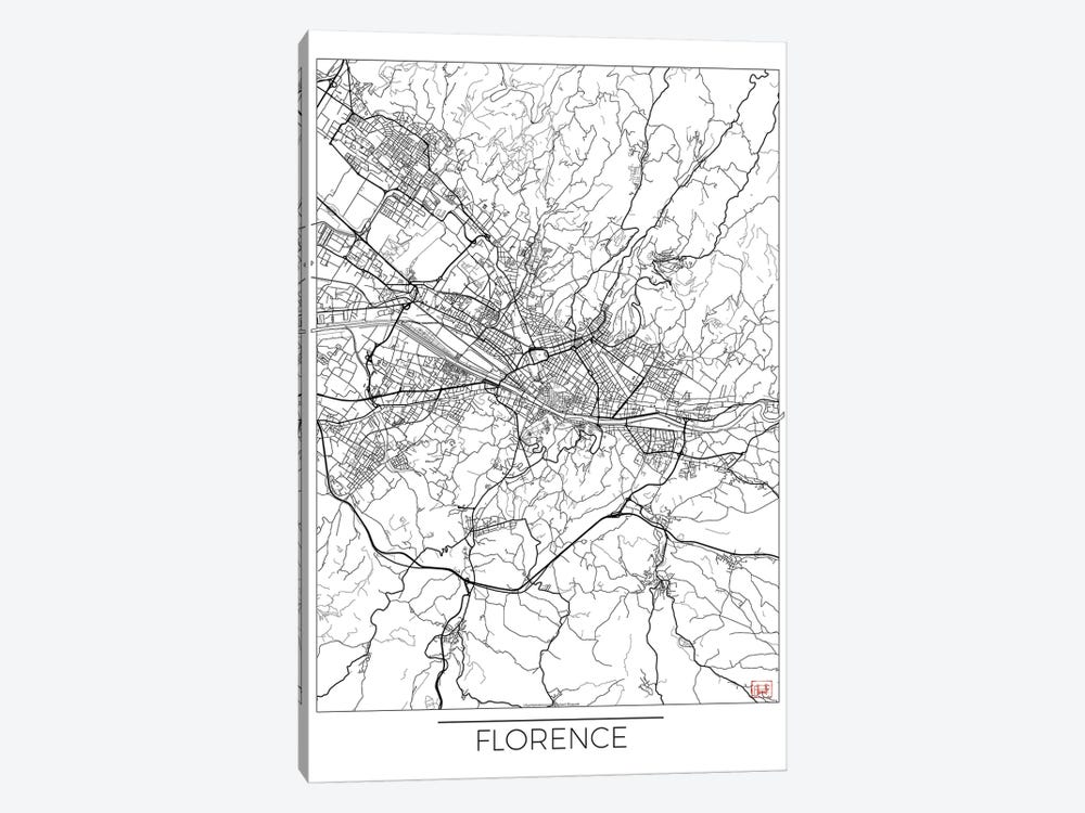 Florence Minimal Urban Blueprint Map 1-piece Canvas Art