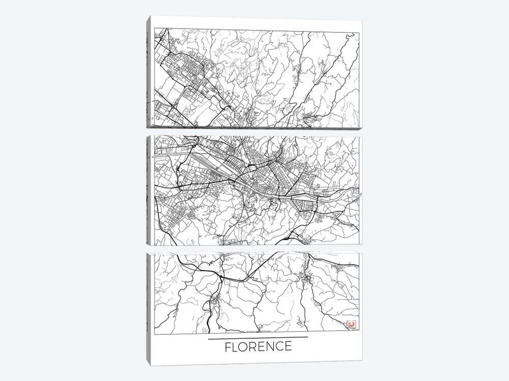 Florence Minimal Urban Blueprint Map 3-piece Canvas Art