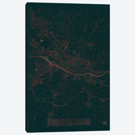 Florence Infrared Urban Blueprint Map 3-Piece Canvas #HUR128} by Hubert Roguski Art Print