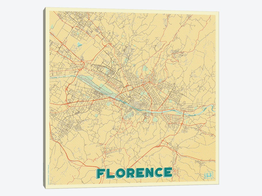 Florence Retro Urban Blueprint Map by Hubert Roguski 1-piece Canvas Wall Art