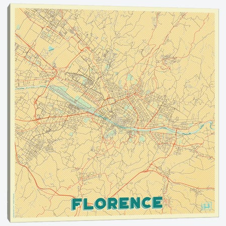 Florence Retro Urban Blueprint Map Canvas Print #HUR129} by Hubert Roguski Canvas Print