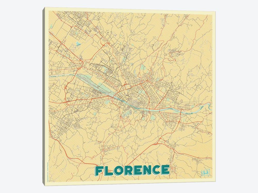 Florence Retro Urban Blueprint Map by Hubert Roguski 1-piece Canvas Wall Art