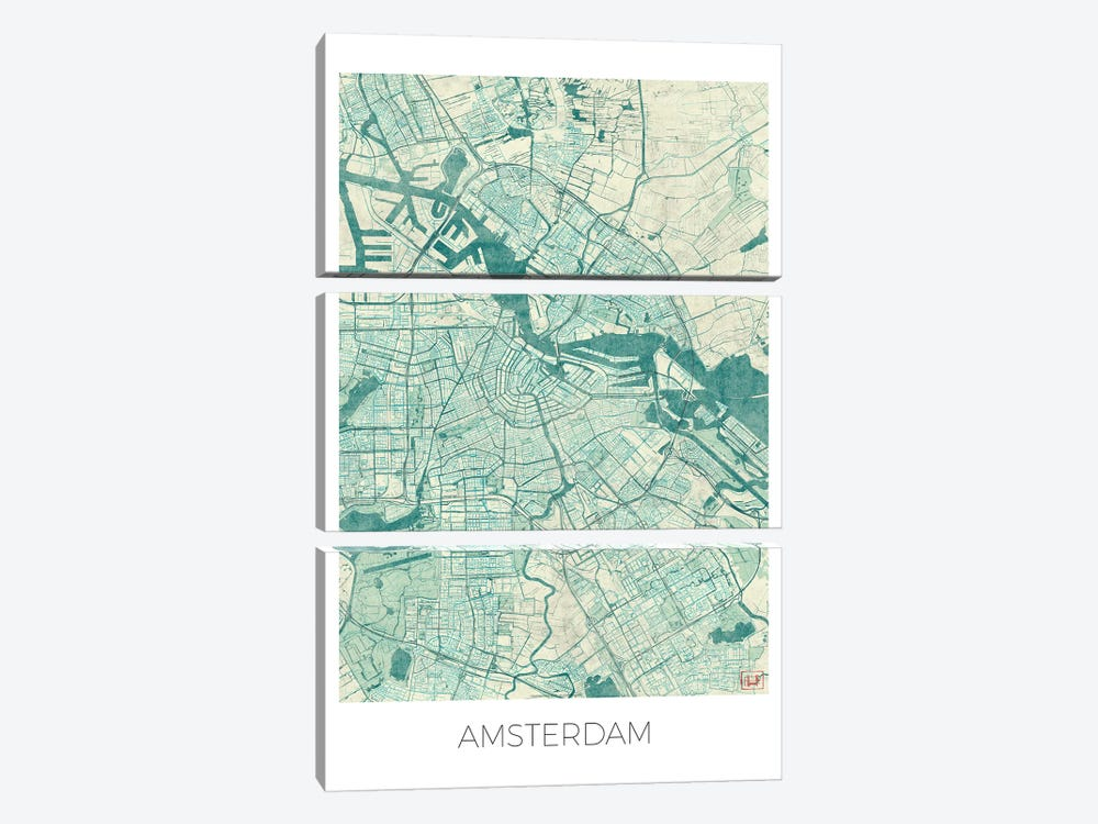 Amsterdam Vintage Blue Watercolor Urban Blueprint Map by Hubert Roguski 3-piece Canvas Print