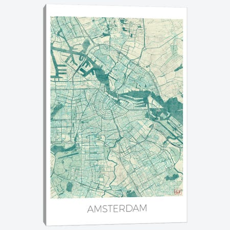 Amsterdam Vintage Blue Watercolor Urban Blueprint Map 3-Piece Canvas #HUR12} by Hubert Roguski Canvas Art