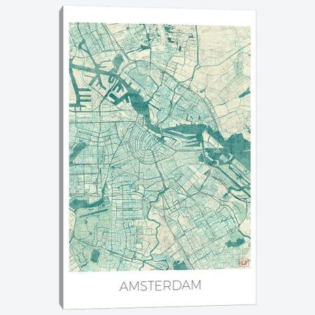 Amsterdam Vintage Blue Watercolor Urban Blueprint Map Canvas Print #HUR12} by Hubert Roguski Canvas Art
