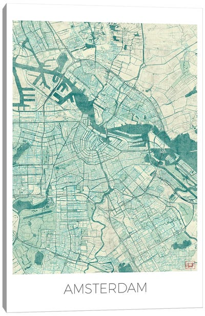 Amsterdam Vintage Blue Watercolor Urban Blueprint Map Canvas Art Print