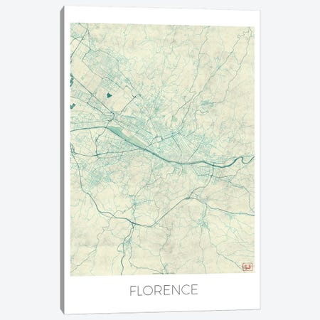 Florence Vintage Blue Watercolor Urban Blueprint Map Canvas Print #HUR130} by Hubert Roguski Canvas Wall Art