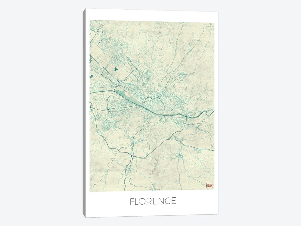 Florence Vintage Blue Watercolor Urban Blueprint Map by Hubert Roguski 1-piece Canvas Artwork