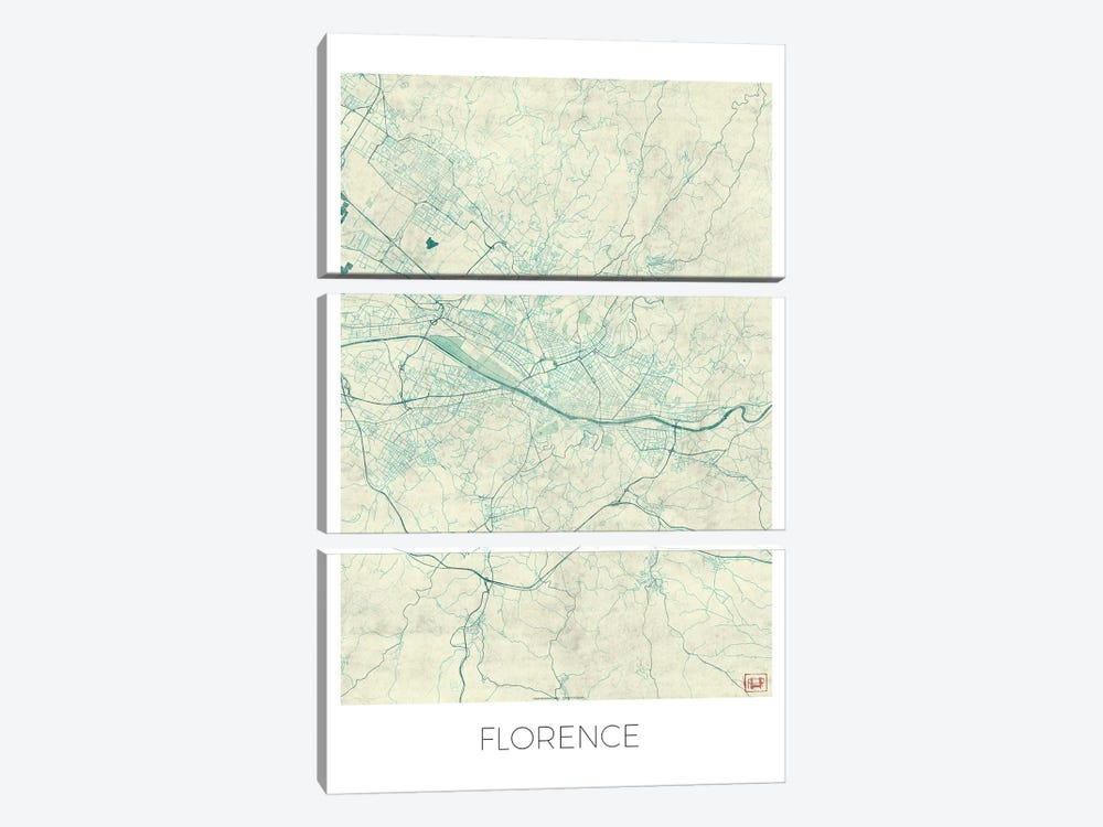 Florence Vintage Blue Watercolor Urban Blueprint Map by Hubert Roguski 3-piece Canvas Wall Art