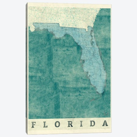 Florida Map Canvas Print #HUR131} by Hubert Roguski Canvas Art