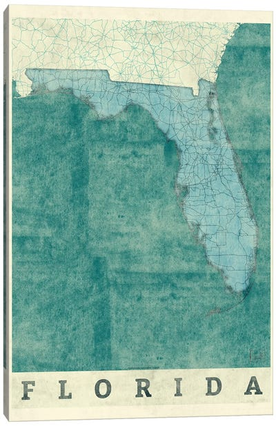 Florida Map Canvas Art Print