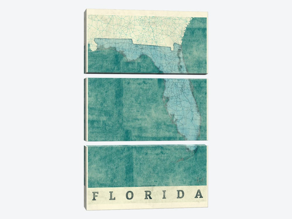 Florida Map by Hubert Roguski 3-piece Art Print
