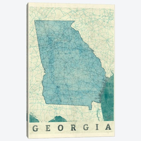 Georgia Map 3-Piece Canvas #HUR132} by Hubert Roguski Canvas Wall Art