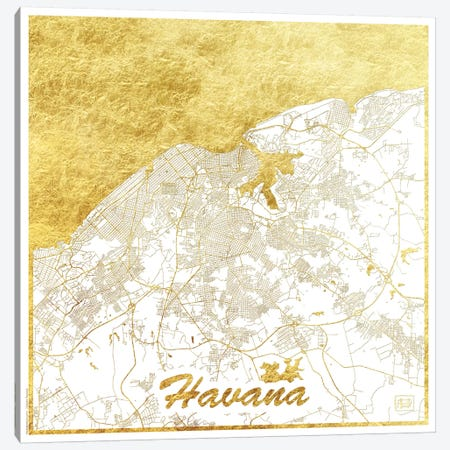 Havana Gold Leaf Urban Blueprint Map Canvas Print #HUR133} by Hubert Roguski Canvas Art