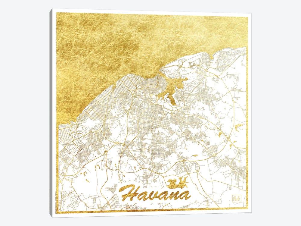 Havana Gold Leaf Urban Blueprint Map by Hubert Roguski 1-piece Art Print