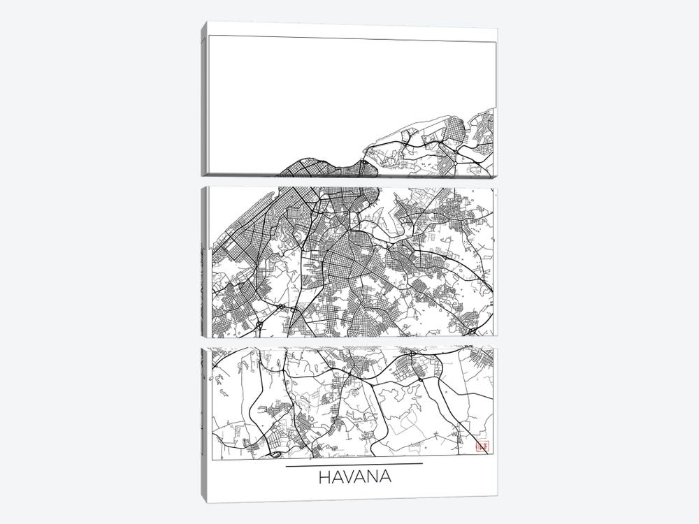 Havana Minimal Urban Blueprint Map 3-piece Canvas Wall Art