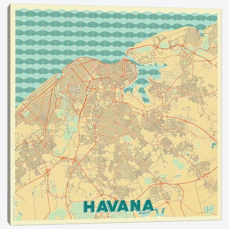 Havana Retro Urban Blueprint Map Canvas Print #HUR136} by Hubert Roguski Art Print