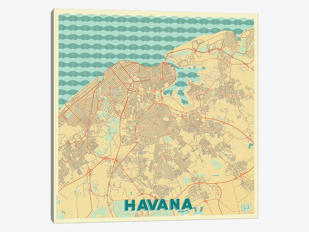 image about Printable Map of Havana known as Havana Retro City Blueprint Map Canvas Wall Artwork Hubert Roguski iCanvas