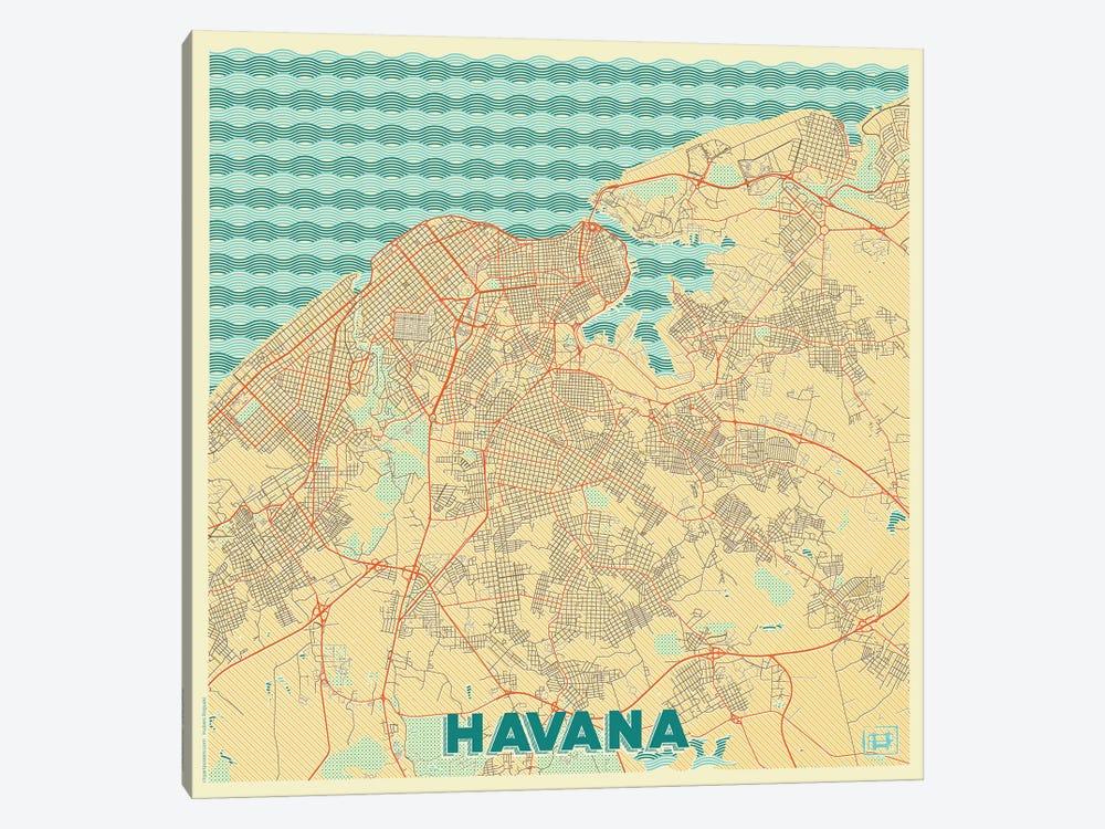 Havana Retro Urban Blueprint Map by Hubert Roguski 1-piece Canvas Artwork