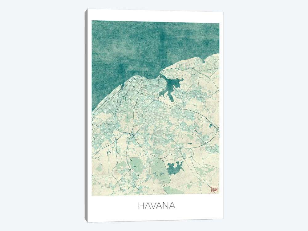 Havana Vintage Blue Watercolor Urban Blueprint Map by Hubert Roguski 1-piece Art Print