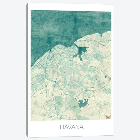 Havana Vintage Blue Watercolor Urban Blueprint Map Canvas Print #HUR137} by Hubert Roguski Art Print