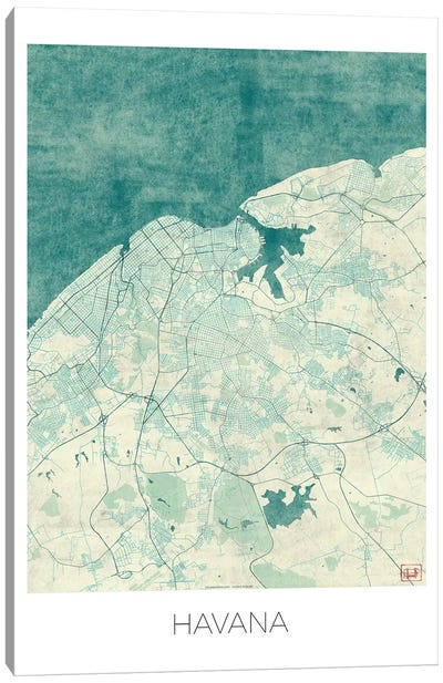 Havana Vintage Blue Watercolor Urban Blueprint Map Canvas Art Print