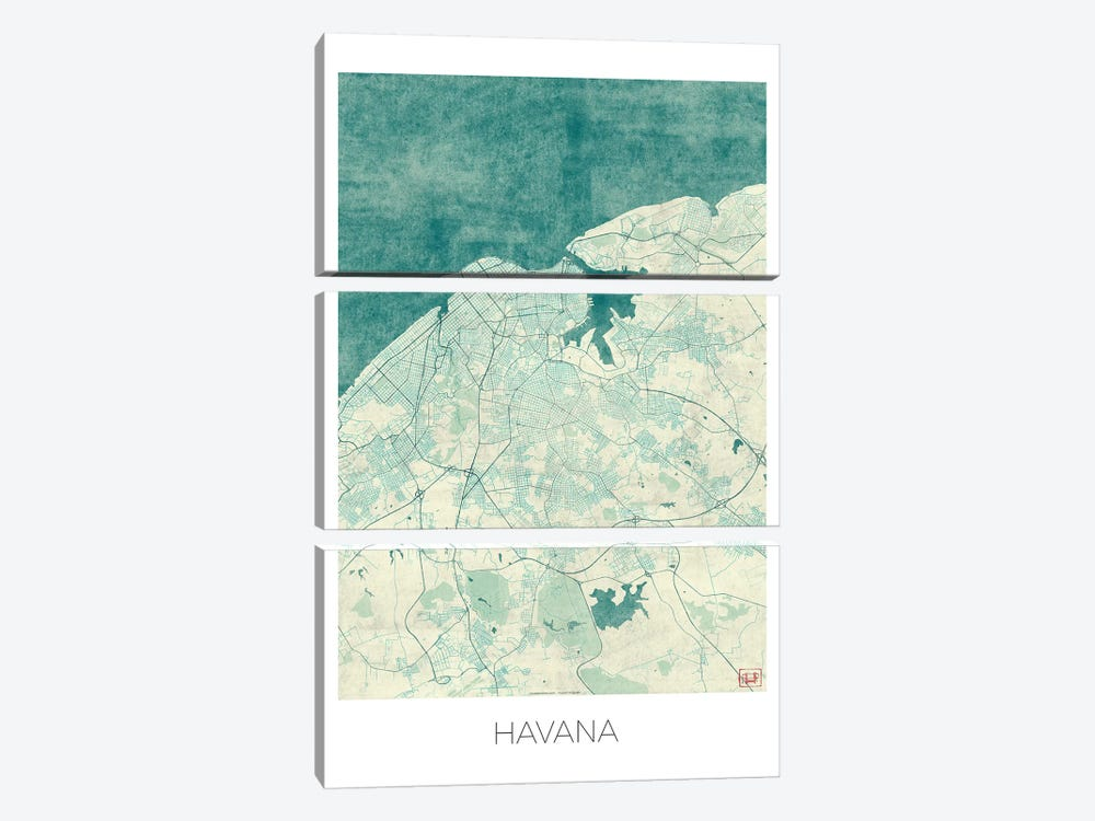 Havana Vintage Blue Watercolor Urban Blueprint Map by Hubert Roguski 3-piece Canvas Art Print