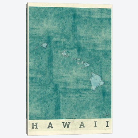 Hawaii Map Canvas Print #HUR138} by Hubert Roguski Canvas Wall Art