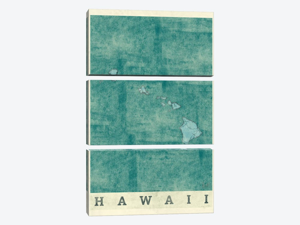 Hawaii Map by Hubert Roguski 3-piece Canvas Artwork