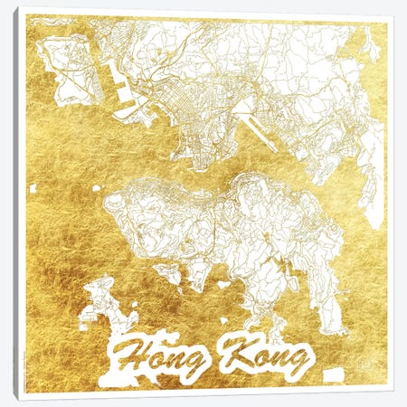Hong Kong Gold Leaf Urban Blueprint Map Canvas Print #HUR139} by Hubert Roguski Canvas Wall Art