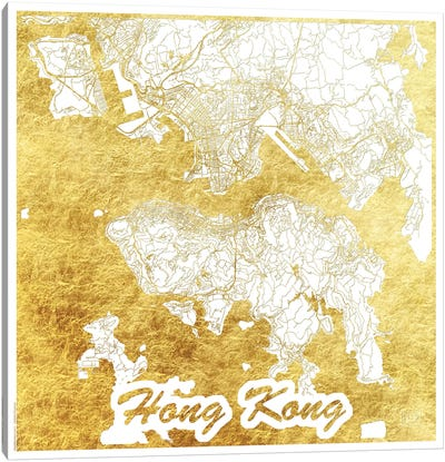 Hong Kong Gold Leaf Urban Blueprint Map Canvas Art Print