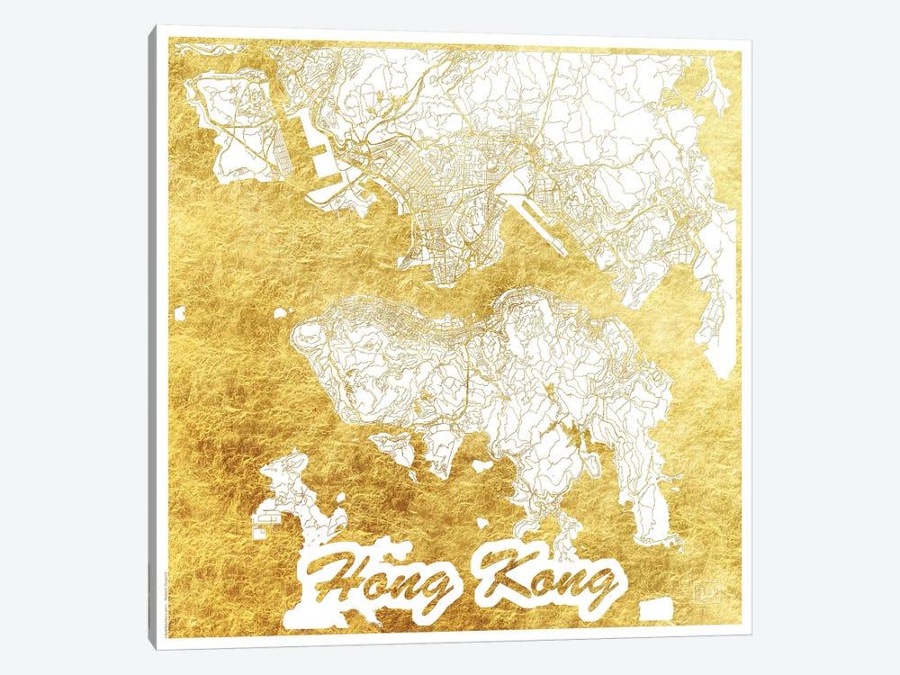 Hong Kong Gold Leaf Urban Blueprint Map by Hubert Roguski 1-piece Canvas Print