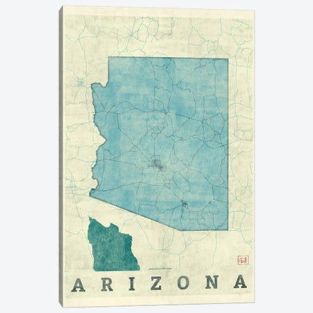 Arizona Map Canvas Print #HUR13} by Hubert Roguski Canvas Artwork