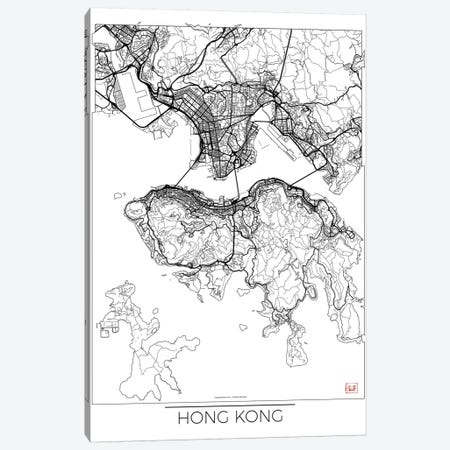 Hong Kong Minimal Urban Blueprint Map Canvas Print #HUR140} by Hubert Roguski Canvas Art Print