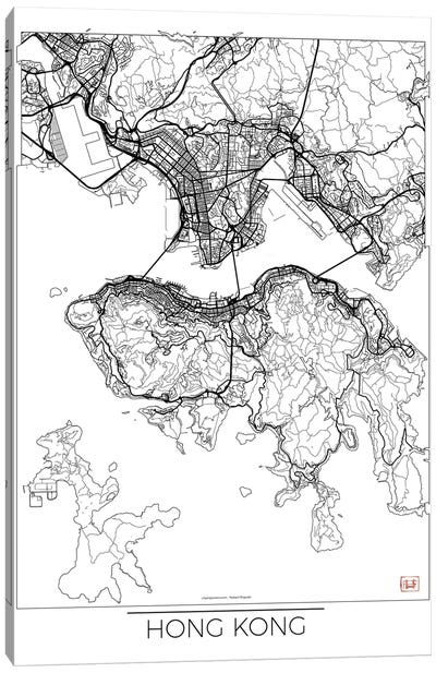 Hong Kong Minimal Urban Blueprint Map Canvas Art Print