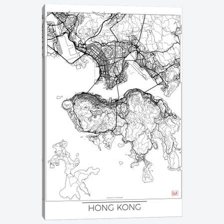 Hong Kong Minimal Urban Blueprint Map Canvas Print #HUR140} by Hubert Roguski Canvas Art Print