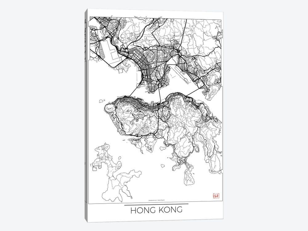 Hong Kong Minimal Urban Blueprint Map by Hubert Roguski 1-piece Canvas Print