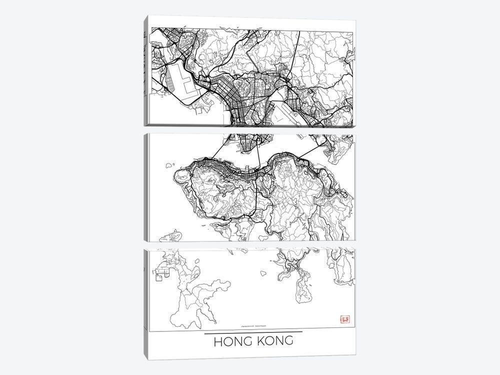 Hong Kong Minimal Urban Blueprint Map by Hubert Roguski 3-piece Canvas Art Print