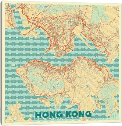 Hong Kong Retro Urban Blueprint Map Canvas Art Print