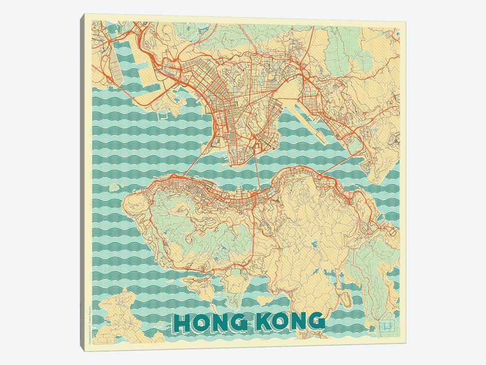 Hong Kong Retro Urban Blueprint Map by Hubert Roguski 1-piece Canvas Art Print