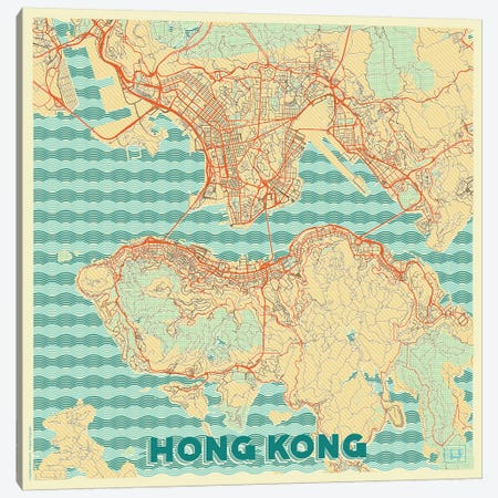 Hong Kong Retro Urban Blueprint Map Canvas Print #HUR142} by Hubert Roguski Art Print