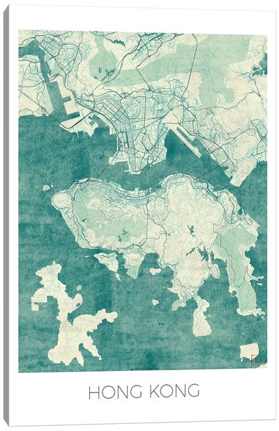 Hong Kong Vintage Blue Watercolor Urban Blueprint Map Canvas Art Print