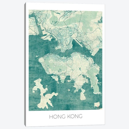 Hong Kong Vintage Blue Watercolor Urban Blueprint Map 3-Piece Canvas #HUR143} by Hubert Roguski Canvas Art Print