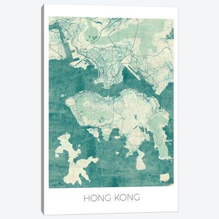Hong Kong Vintage Blue Watercolor Urban Blueprint Map Canvas Print #HUR143} by Hubert Roguski Canvas Art Print